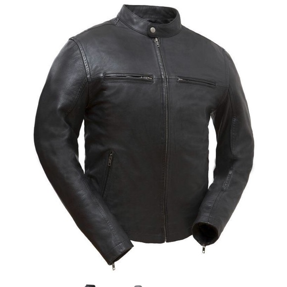 a8f712913 DIAPO LEATHER MENS RIVET MOTORCYCLE LEATHER JACKET